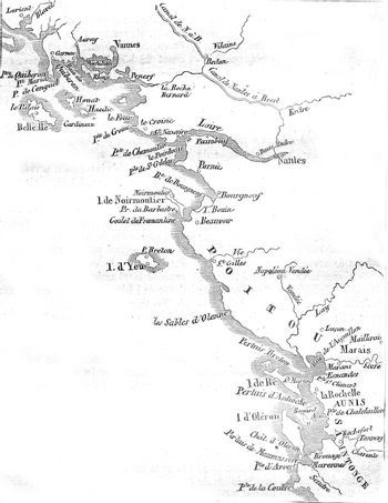Map of the salt marshes of the Bay of Biscay, vintage engraving.