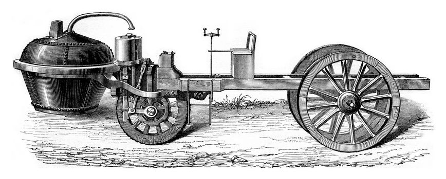 Steam car of Cugnot under Louis XV, vintage engraved illustration. Magasin Pittoresque 1861.