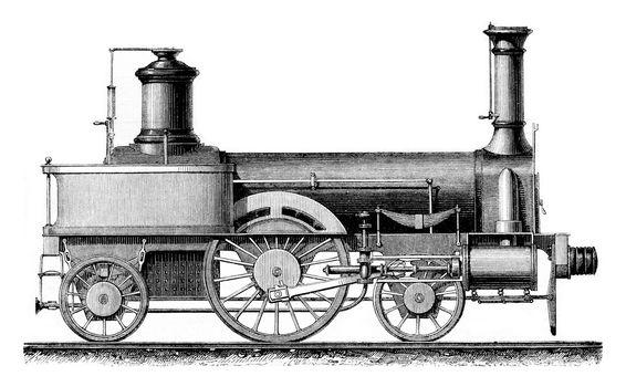Locomotive travelers, average speed, vintage engraving.