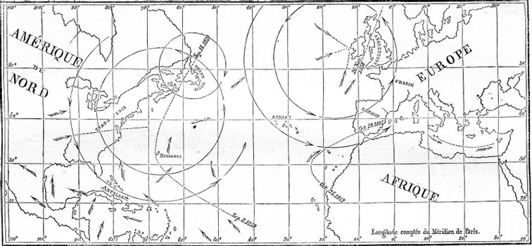 Map of the walk of several cyclones, vintage engraved illustration. Magasin Pittoresque 1861.