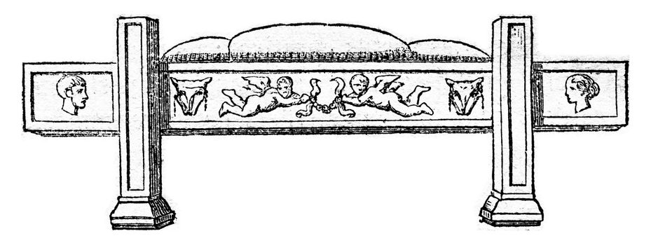 Funeral bed, after a Roman bas relief, vintage engraved illustration. Magasin Pittoresque 1867.