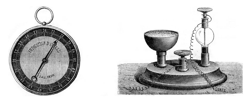 Ansell equipment to recognize the presence of fire-damp, vintage engraved illustration. Magasin Pittoresque 1869.