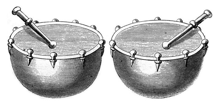 Timpani of war in 1536, vintage engraved illustration. Magasin Pittoresque 1869.