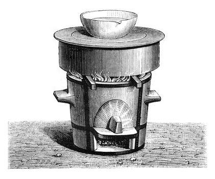 Evaporation of beer in a water bath, vintage engraving.