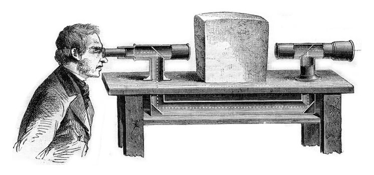 Cutting the broken telescope, vintage engraved illustration. Magasin Pittoresque 1869.