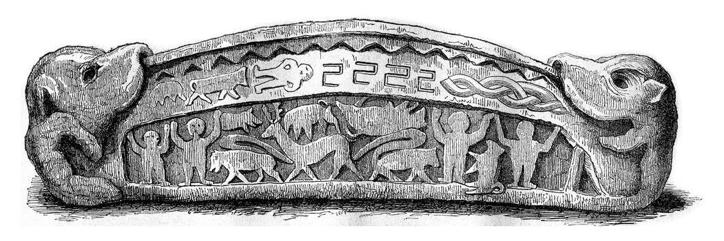 Stone coffin Heysham, Lancashire, vintage engraved illustration. Magasin Pittoresque 1870.