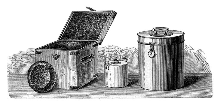 Popular small kitchen, vintage engraved illustration. Magasin Pittoresque 1870.