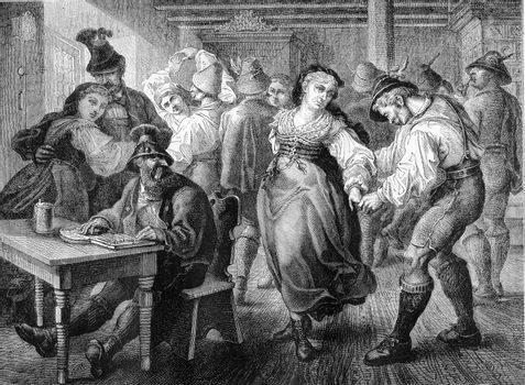 Dance scene in a hostel of Bavaria, vintage engraving.