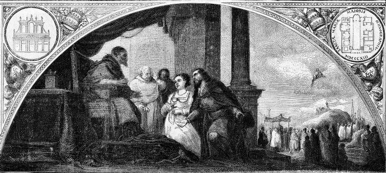 The patrician and his wife at the hearing of the Pope, painting by Murillo, the Madrid Museum, vintage engraved illustration. Magasin Pittoresque 1873.