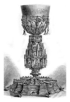 Gilt chalice chapel to Ajuda Palace, vintage engraving.