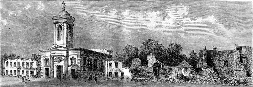 Phalsbourg, Church Square, vintage engraved illustration. Magasin Pittoresque 1873.