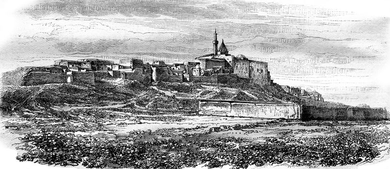 The Tomb of Jonah (Nabi-Yunus), on the ruins of Nineveh, vintage engraved illustration. Magasin Pittoresque 1876.