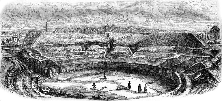 The Arena of Senlis in their current state, vintage engraved illustration. Magasin Pittoresque 1876.