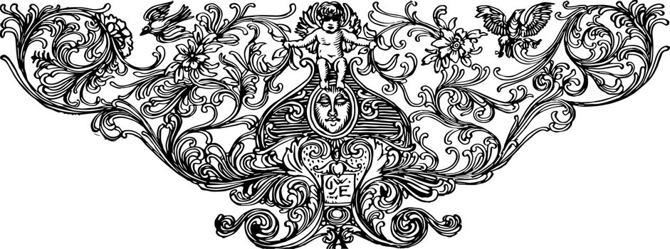Footer with Cherub with a cherub and birds, vintage engraving.