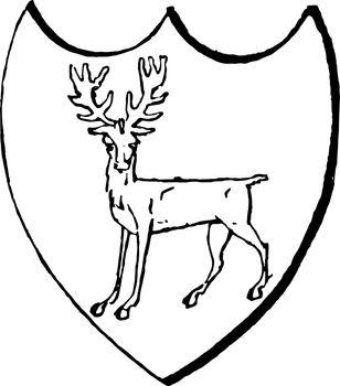 Statant Guardant attitude of a beast in heraldry, vintage engrav