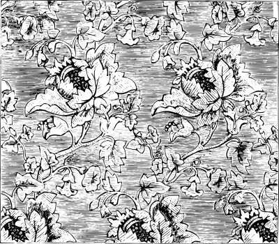Damask Fabric is a figured pattern using a weaving process, vint