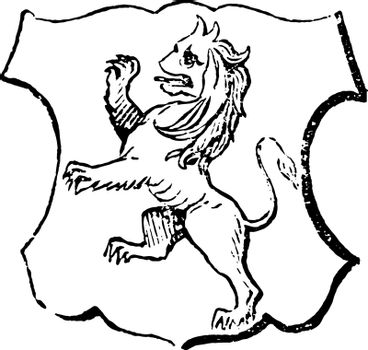 Lion Rampant have beast in a fighting attitude, vintage engravin