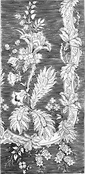 Figured Velvets fabric is designed in a floral and leaf design,