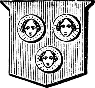 Bezants Figured are depicted with a human face, vintage engravin