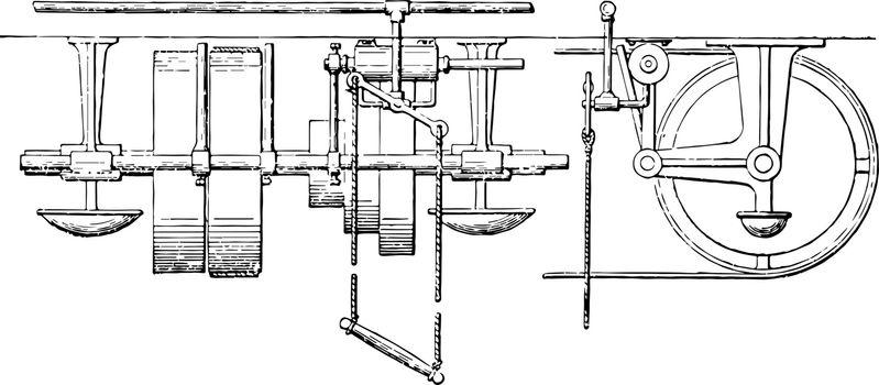 Pneumatic Belt Shifter, vintage illustration.