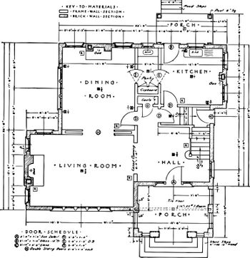 first Floor Residence Plan of a typical residence vintage engrav