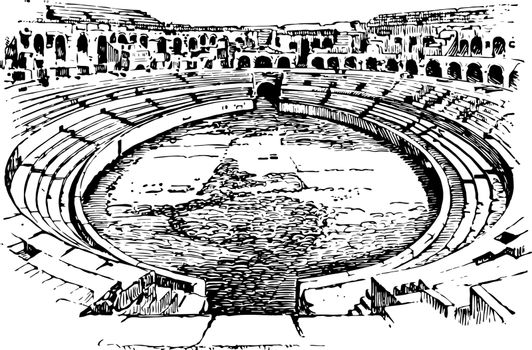 Ampitheater of Nimes France open to air venue used for entertain