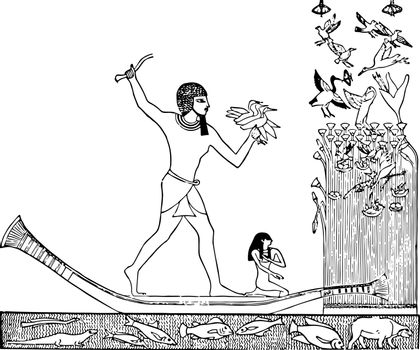 Egyptian Noble Hunting Waterfowl vintage illustration.