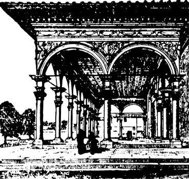 Arcade element vintage engraving.