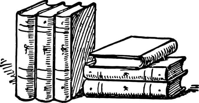 Six Books or collections of books vintage engraving.