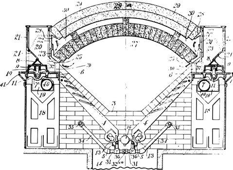 Smelting Furnace vintage illustration.