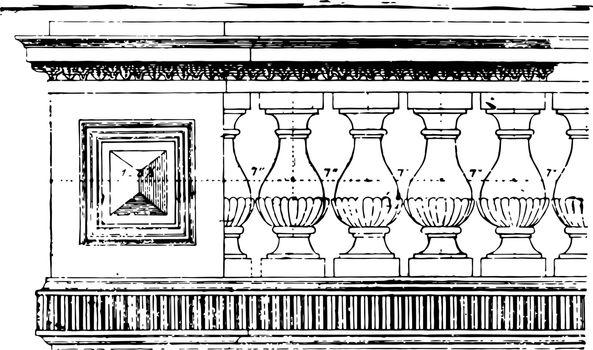 Balustrade woodwork vintage engraving.