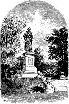 Statue of Benton vintage illustration