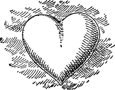 This is a symbol of love which is called as heart. The wounded heart indicating love sickness came to be depicted as a heart symbol vintage line drawing or engraving illustration.