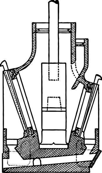 Double Discharge Mortar, vintage illustration.