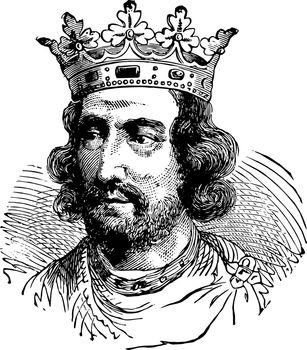 Henry III of England, vintage illustration