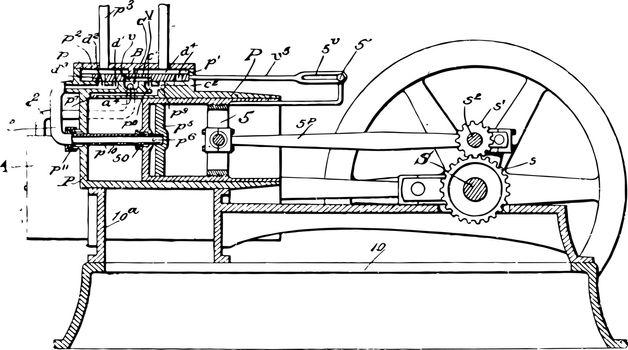 Explosive Engine vintage illustration.