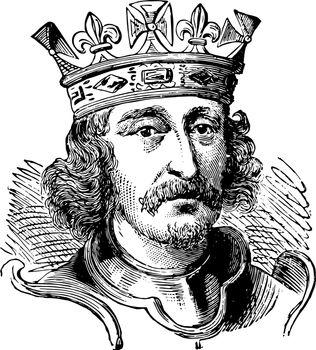 Richard I of England, vintage illustration