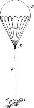 Elongated Parachute, vintage illustration.