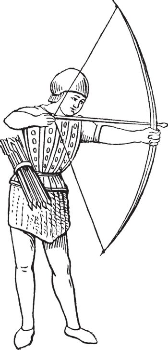 Archer in 15th century England, vintage illustration.