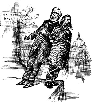 Blaine Pushing Logan, vintage illustration