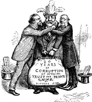 Hoar and Hawley Accept Blaine, vintage illustration