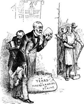 Blaine Tariff Fraud, vintage illustration