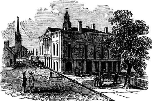 Federal Hall, vintage illustration.