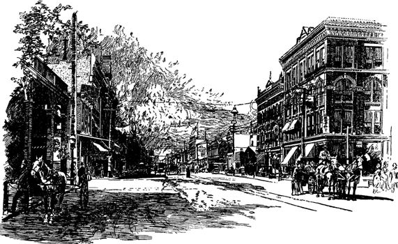 Street Scene in Wichita, vintage illustration.