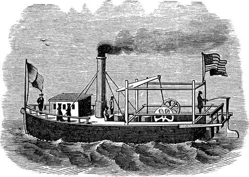 Fitch Steamboat, vintage illustration.