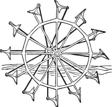 Feathered Paddle wheel, vintage illustration.