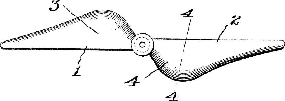 Dual Wing Aerial Propeller, vintage illustration.