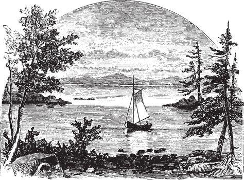 Mount Desert Island, vintage illustration.