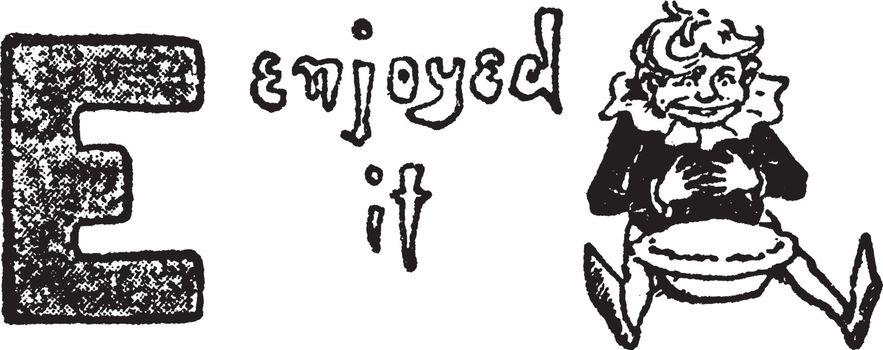 E, Letter, vintage illustration