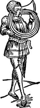 Spirally Coiled Horn, vintage illustration.